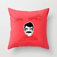 tom selleck Throw Pillows featuring Tom Selleck by dann matthews