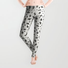 Black and White Lino Print Cactus Pattern Leggings