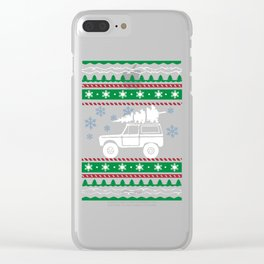 Ugly Christmas Trees Snowflakes Truck Clear iPhone Case