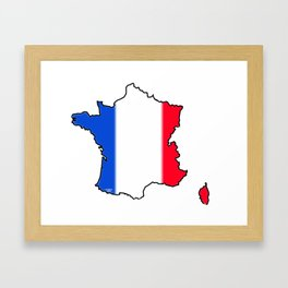 France Map with French Flag Framed Art Print