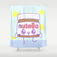 nutella Shower Curtains featuring Nutella by grecia colunga