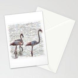 Three Flamingos Watercolor Stationery Cards