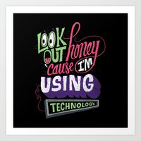 technology Art Prints featuring Using Technology by Chris Piascik