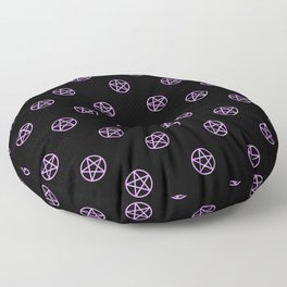 Purple Pentacle Pattern on Black Floor Pillow