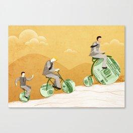 Three businessmen riding money bikes Canvas Print