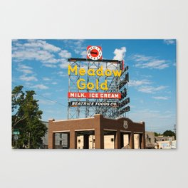 Route 66 Tulsa Meadow Gold Vintage Sign Canvas Print