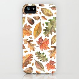 Watercolour Autumn Leaves. iPhone Case
