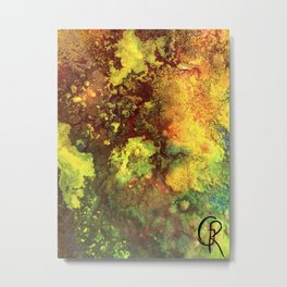 Primordial Abstract Painting Mixed Media On Canvas, Contemporary Artwork, Close-Up Photograph Metal Print
