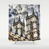 downton abbey Shower Curtains featuring Westminster Abbey London.    by David Pyatt