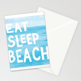 Eat Sleep Beach painted watercolor words Stationery Cards