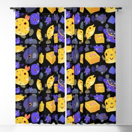 Boxfish - black Blackout Curtain