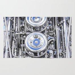 Hot Rod Blue, Automotive Art with Lots of Chrome by Murray Bolesta Rug