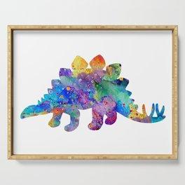 Stegosaurus Dinosaur Art Watercolor Pint Wild Animals Nursery Decor Kids Room Colorful Art Poster Serving Tray