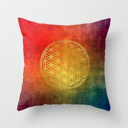 Sacred Geometry Golden Flower of Life Throw Pillow