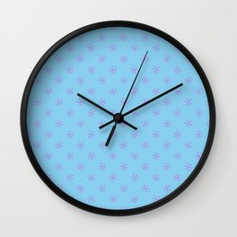 Lavender Violet on Baby Blue Snowflakes Wall Clock