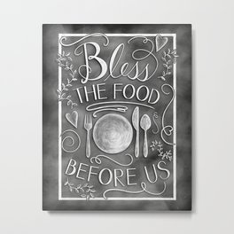 """Bless The Food Before Us"" Chalkboard Kitchen Art Metal Print"