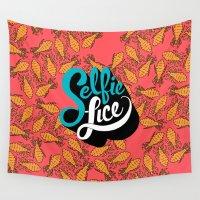 selfie Wall Tapestries featuring Selfie Lice by Chris Piascik