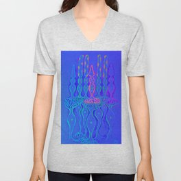 Cone cells rod cells and bipolar neurons in the retina, fluorescent drawing Unisex V-Neck