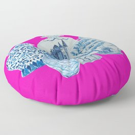 Hot Pink Blue and White Ginger Jars  Floor Pillow