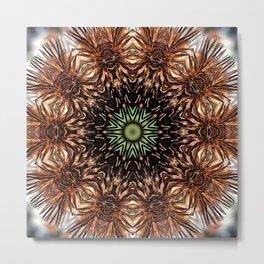 Nature mandala - Autumn coneflower seedhead Metal Print
