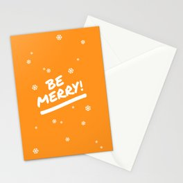 Bright Orange Be Merry Christmas Snowflakes Stationery Cards