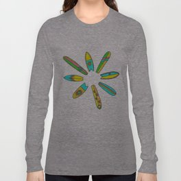 Retro Surfboard Flower Power Long Sleeve T-shirt