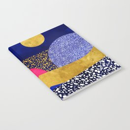 Terrazzo galaxy blue night yellow gold pink Notebook