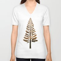 arya V-neck T-shirts featuring Feather Tree in warm colours by Hinal Arya