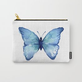 Blue Butterfly Watercolor Carry-All Pouch