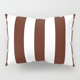 French puce brown - solid color - white vertical lines pattern Pillow Sham