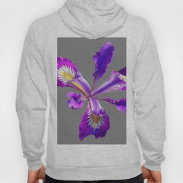 PURPLE DUTCH IRIS FLOWER GREY  DESIGN Hoody