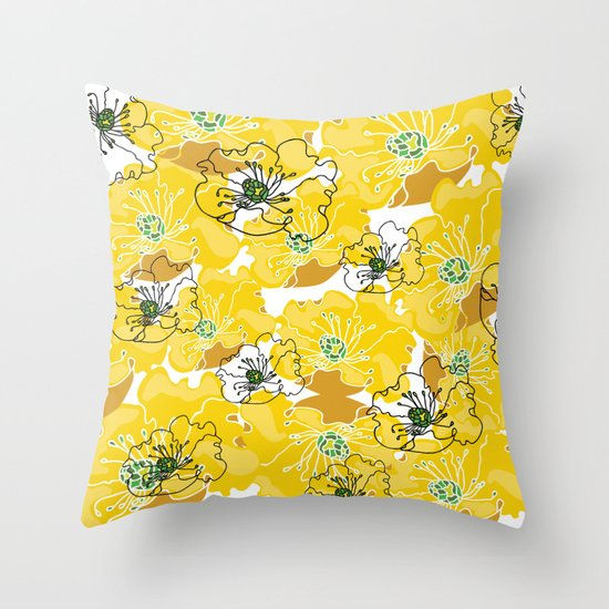 yellow marzipan flowers Throw Pillow