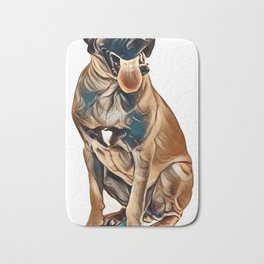 English Mastiff dog, 6 months old, sitting in front of white background        - Image Bath Mat