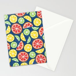 Vitamin C Super Boost - Citric Fruits on Blue Stationery Cards