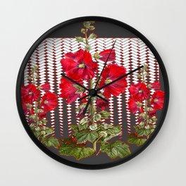MODERN ART RED HOLLYHOCKS BOTANICAL Wall Clock