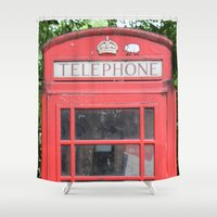 telephone Shower Curtains featuring Telephone Booth by Certified Cat