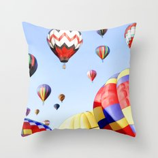 Balloons In The Sky - Painting Style Throw Pillow