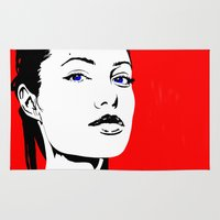 angelina jolie Area & Throw Rugs featuring Angelina by Gary Barling