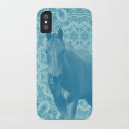 horse and wattle mandala in blue iPhone Case
