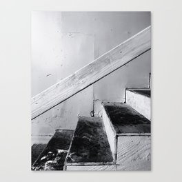 wood stairway with wood background in black and white Canvas Print