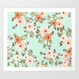 Rose I, Watercolor Mint & Orange Art Print