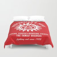 winchester Duvet Covers featuring SUPERNATURAL WINCHESTER AND SONS by thischarmingfan