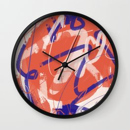 Orange and blue new abstract  Wall Clock