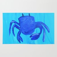 crab Area & Throw Rugs featuring Crab by Lissasdesigns