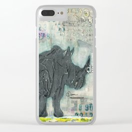 Majestic Series: Rhino on a roll Clear iPhone Case