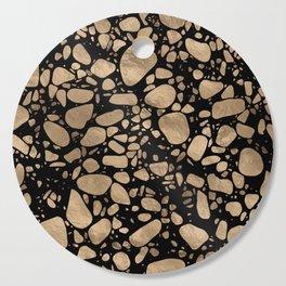 Terrazzo - Mosaic - gold on black Cutting Board