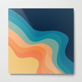 Retro style waves decoration Metal Print