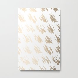 Luxe Gold Brush Polka Splotch on White Metal Print