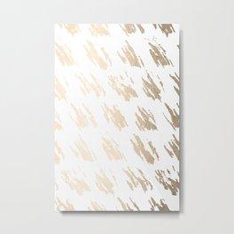 Luxe Gold Brush Polka Splotch on White Metal Print