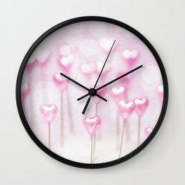 Pretty Pink Hearts Wall Clock